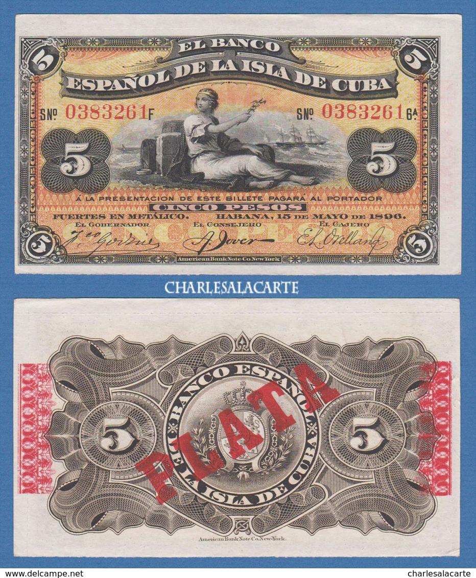1896  CUBA BANCO ESPANOL  5 PESOS PERSON ON BEACH SAILING SHIP KRAUSE 48b SUBERB CONDITION SPL - Cuba