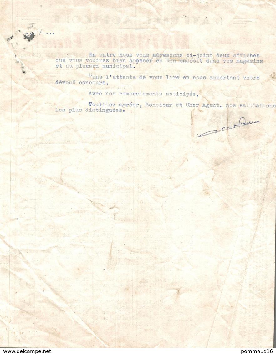 Mathieux Frères, Matériel Agricole, Barbezieux Le 1er Juin 1956 - Advertising