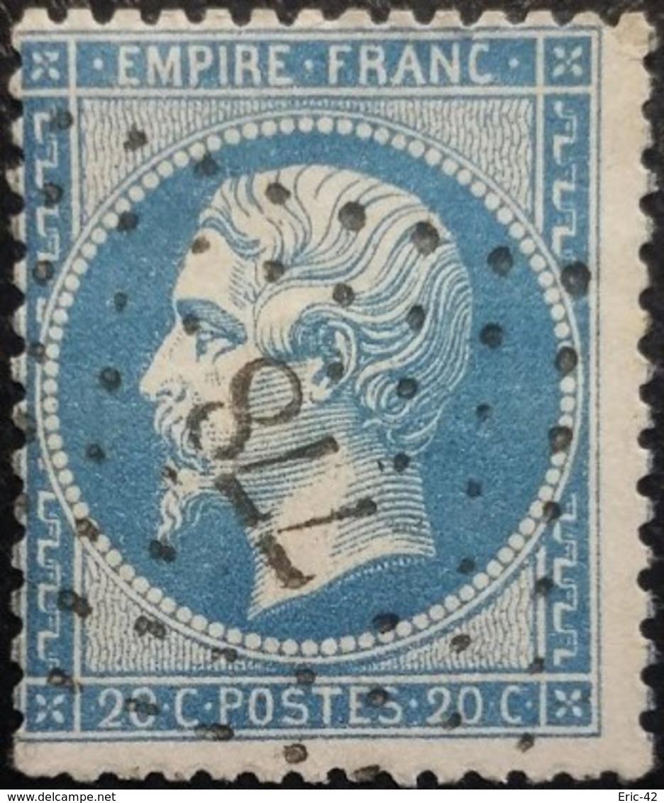 FRANCE Y&T N°22 Napoléon 20c Bleu. Oblitéré Losange PC N°778 Châteaubourg - 1862 Napoleone III