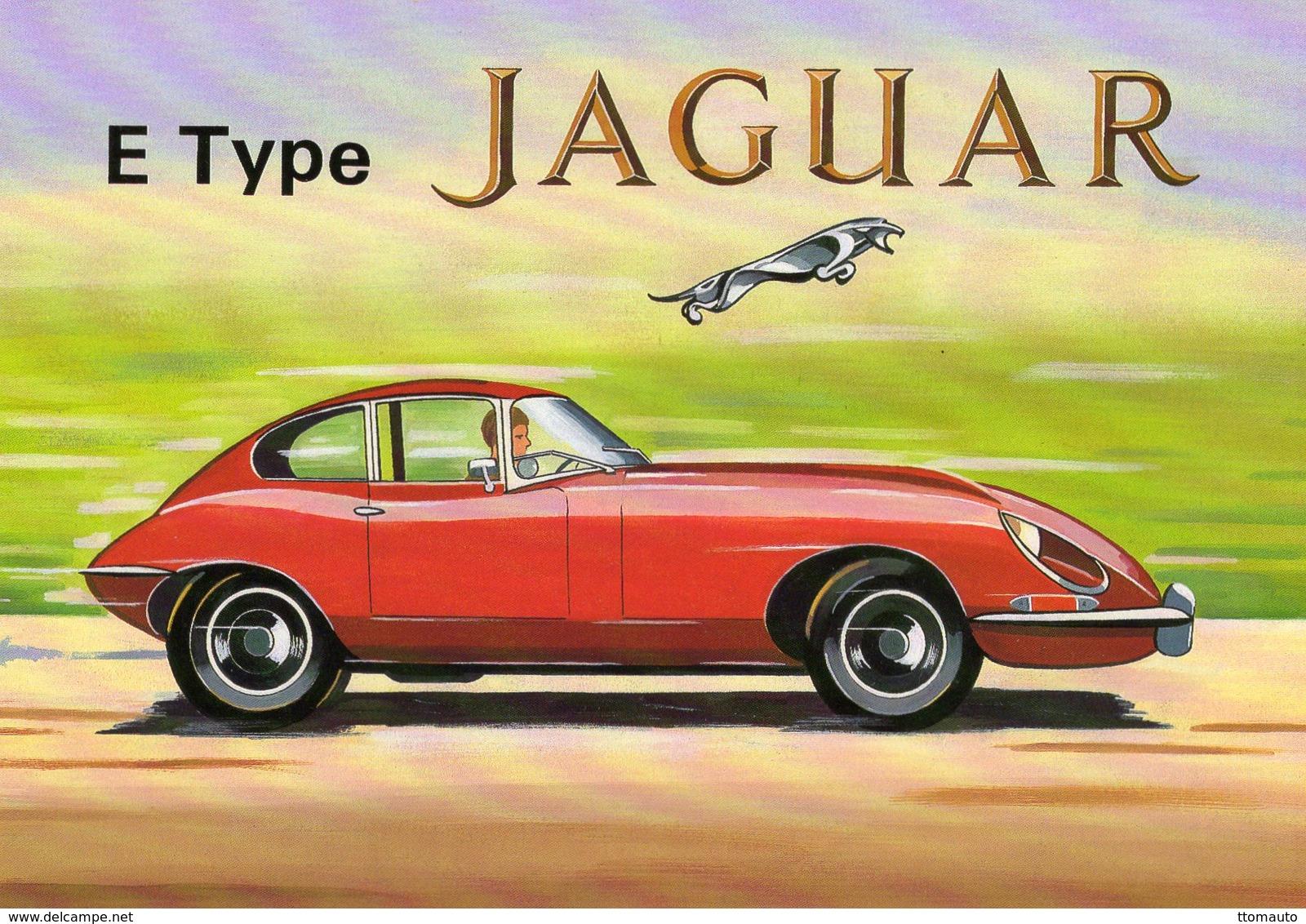 Jaguar Type E  FHC  -  Artist Colin Ashford    -  Art Card  -  CPM - Turismo