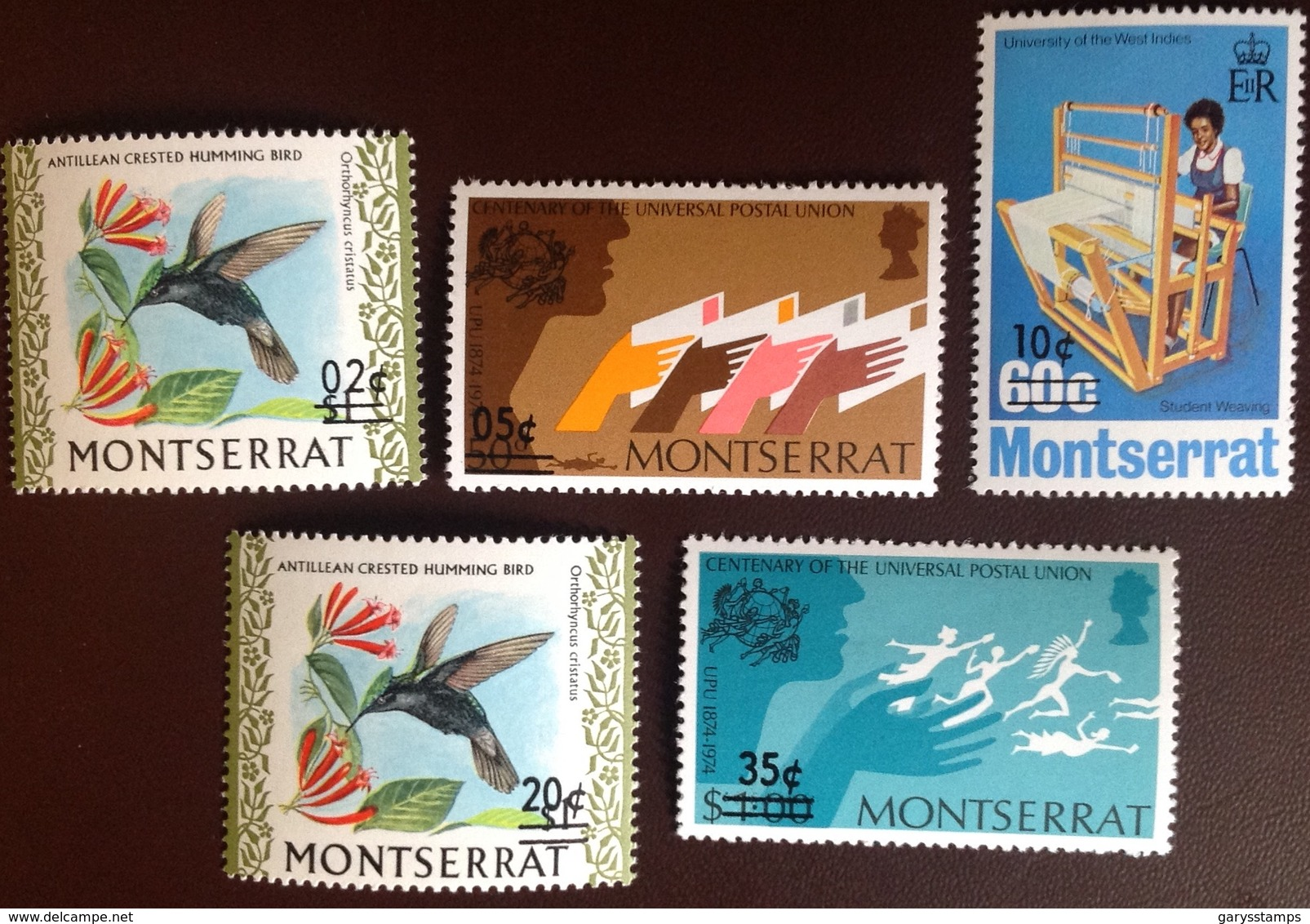 Montserrat 1974 Provisionals Surcharges Set Birds MNH - Montserrat