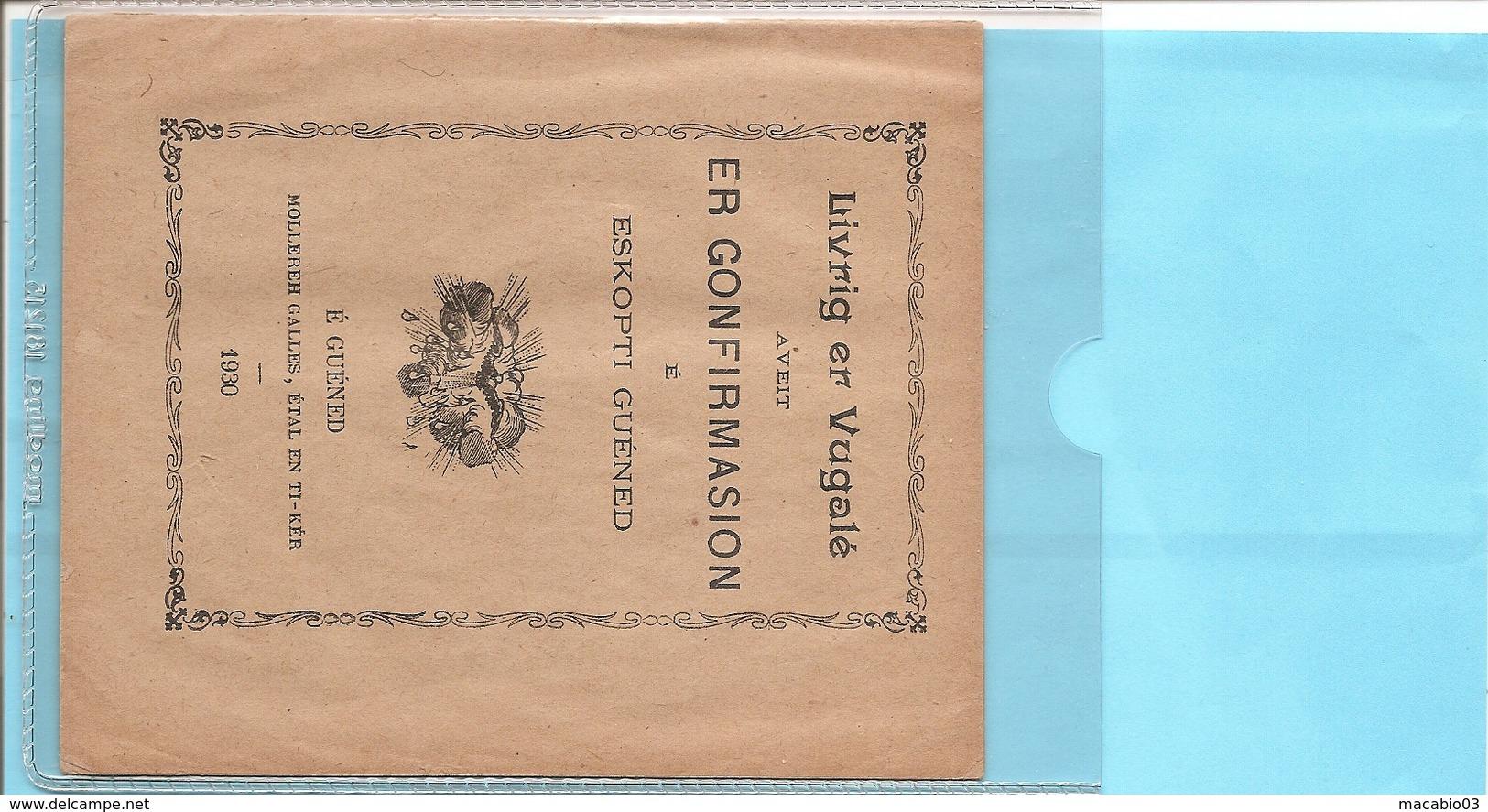 Livret De 22 Pages De 1930 En BRETON -Livrig Er Vugalé Aveit ER GONFIRMASION é Eskopti Guéned Réf 5848 - Livres, BD, Revues