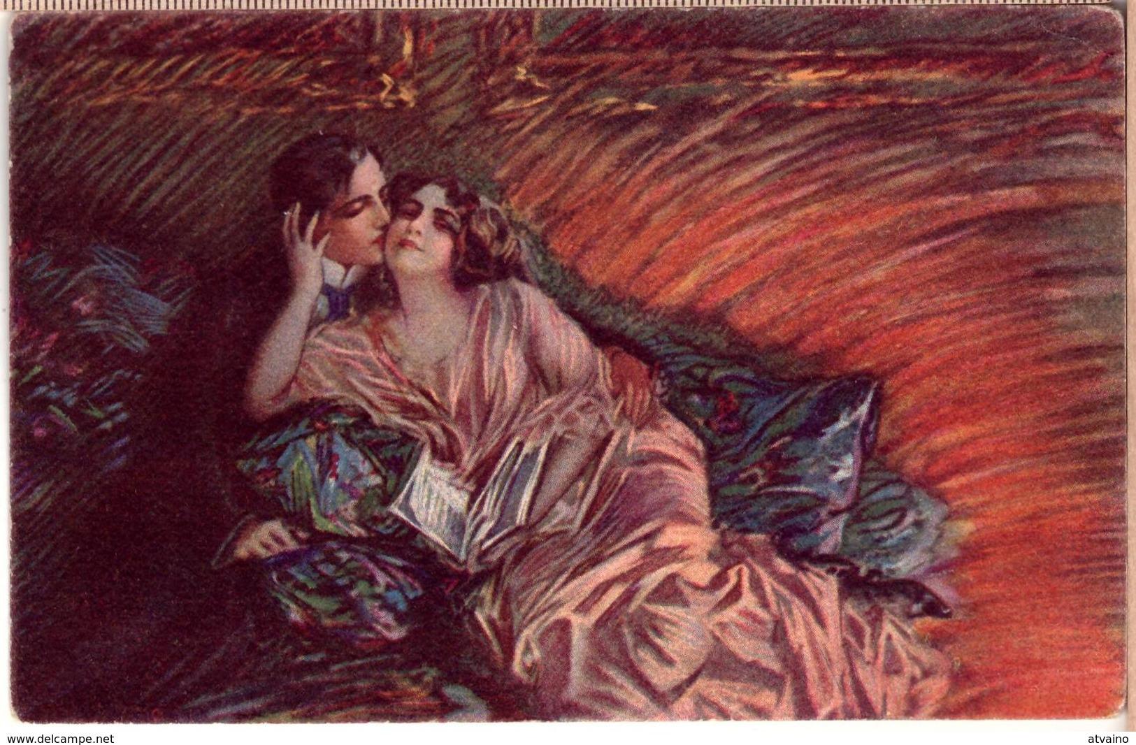Artist Signed Italian Art Deco Couple PC 1920s - Autres Illustrateurs