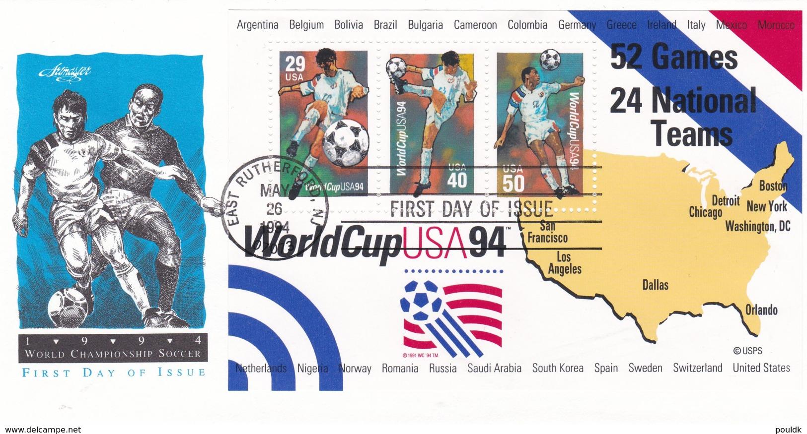 USA FDC 1994 World Cup Football FIFA In USA Souvenir Sheet (C111A) - Fußball-Weltmeisterschaft