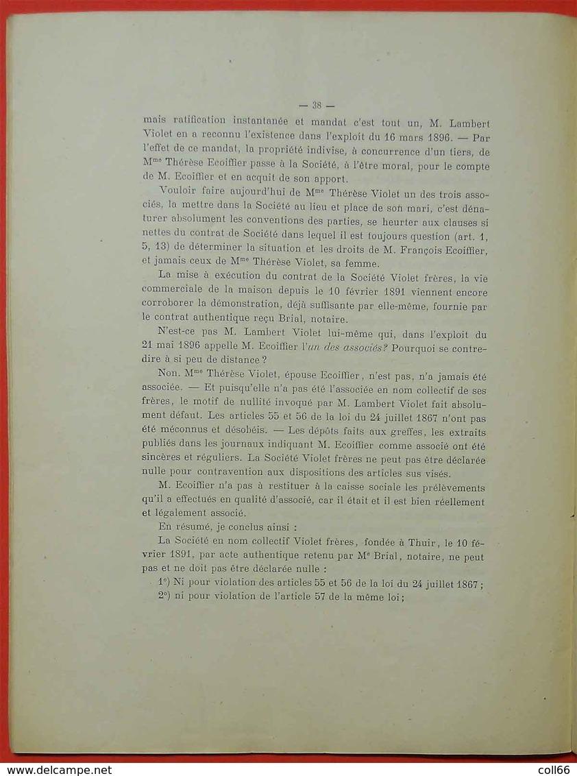 66 Perpignan 1897 RARE Brochure Litige Entre Héritiers Simon Violet Et François Ecoiffier BYRRH Imp Chauvin Toulouse - Books, Magazines, Comics