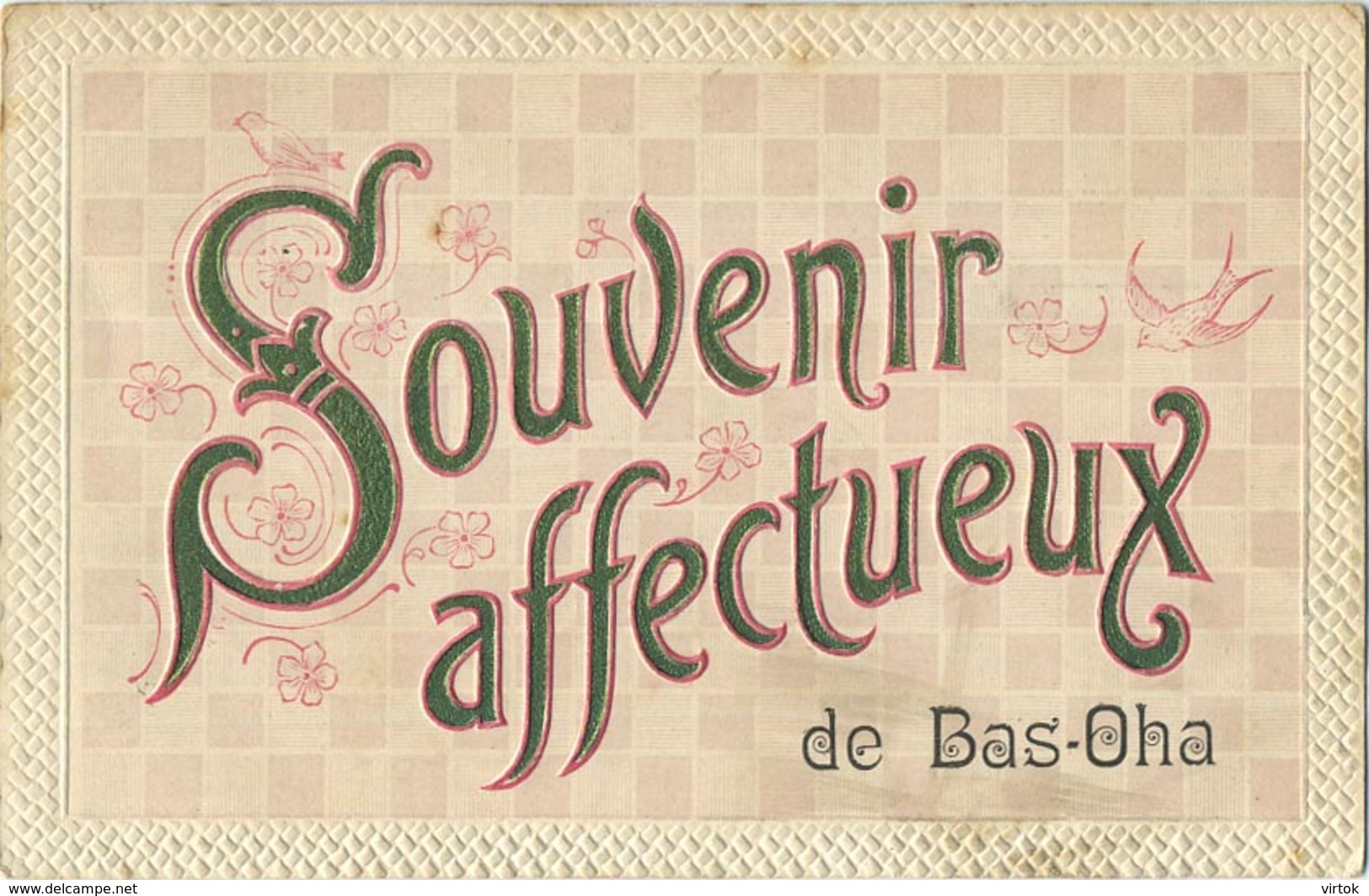 BAS-OHA : Souvenir Affectueux  ( Carte Reliëf  )  2  Scan - Wanze