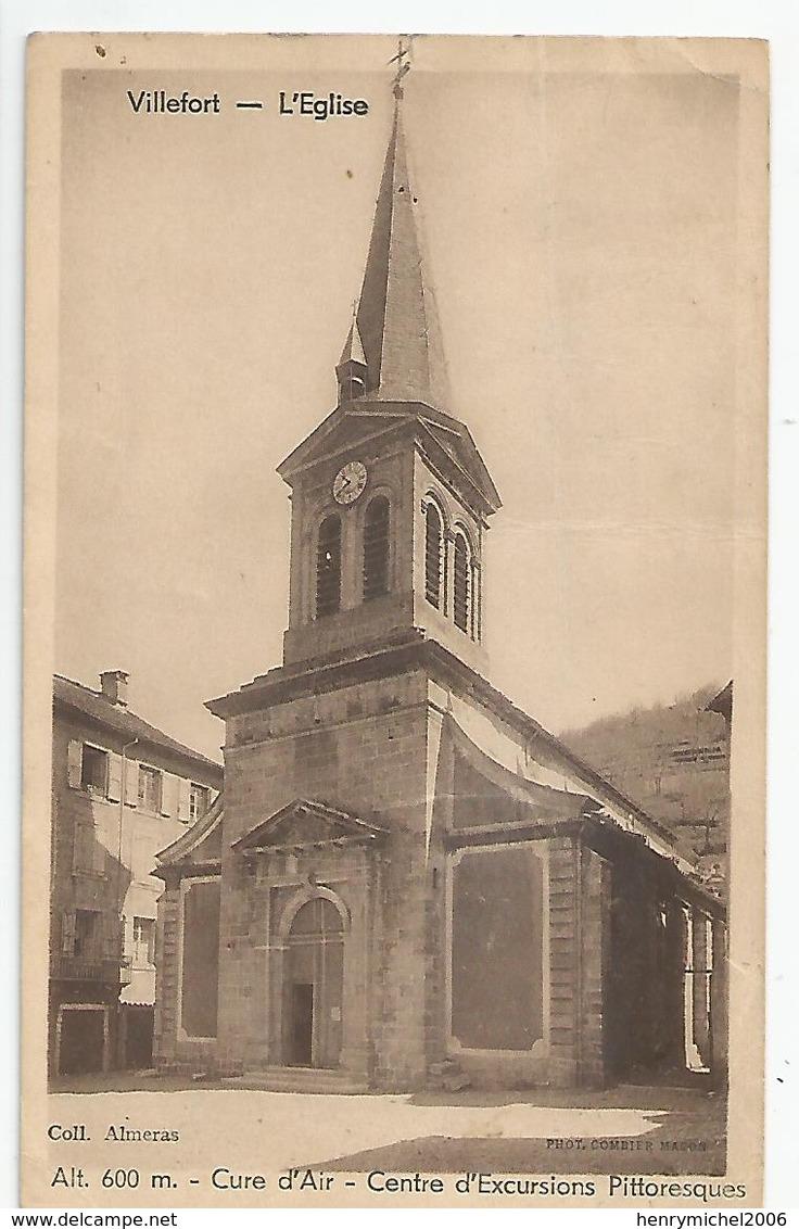 48 Lozère - Villefort L'église Cure D'air Centre D'exursions Pittoresques - Villefort