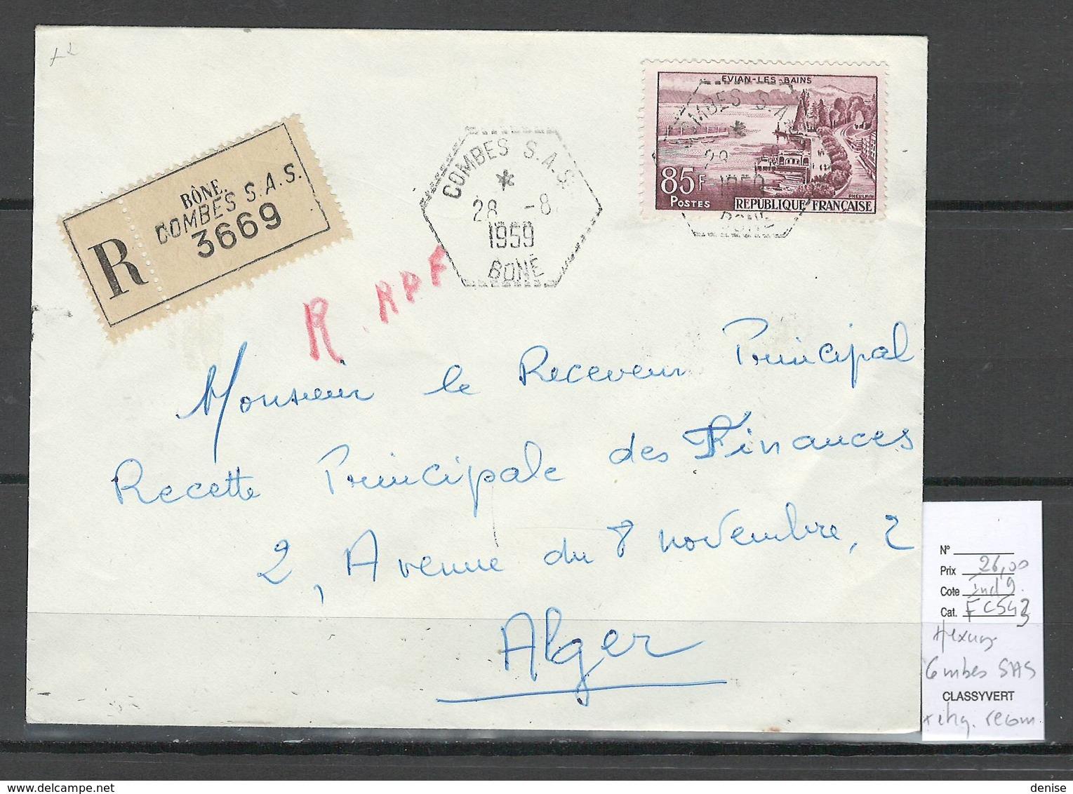 Algerie - Lettre  - Cachet Hexagonal COMBES SAS -  Marcophilie - Algeria (1924-1962)