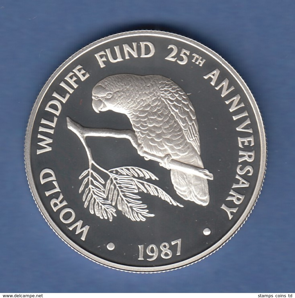WWF Silber-Gedenkmünze Cayman Islands 1987, Amazonas-Papagei 5 $, 28g Ag925, PP  - Monete & Banconote