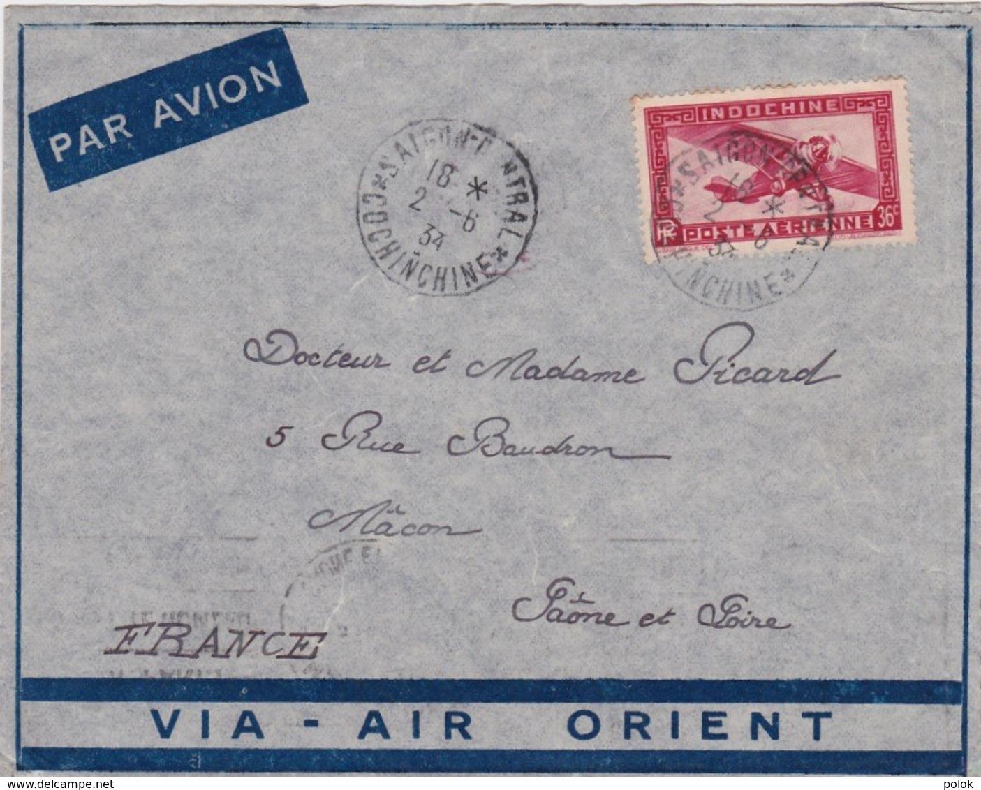 Lettre Indochine à France - Cachet Saïgon Central 1934 - Par Avion, Via Air Orient - Indochina (1889-1945)