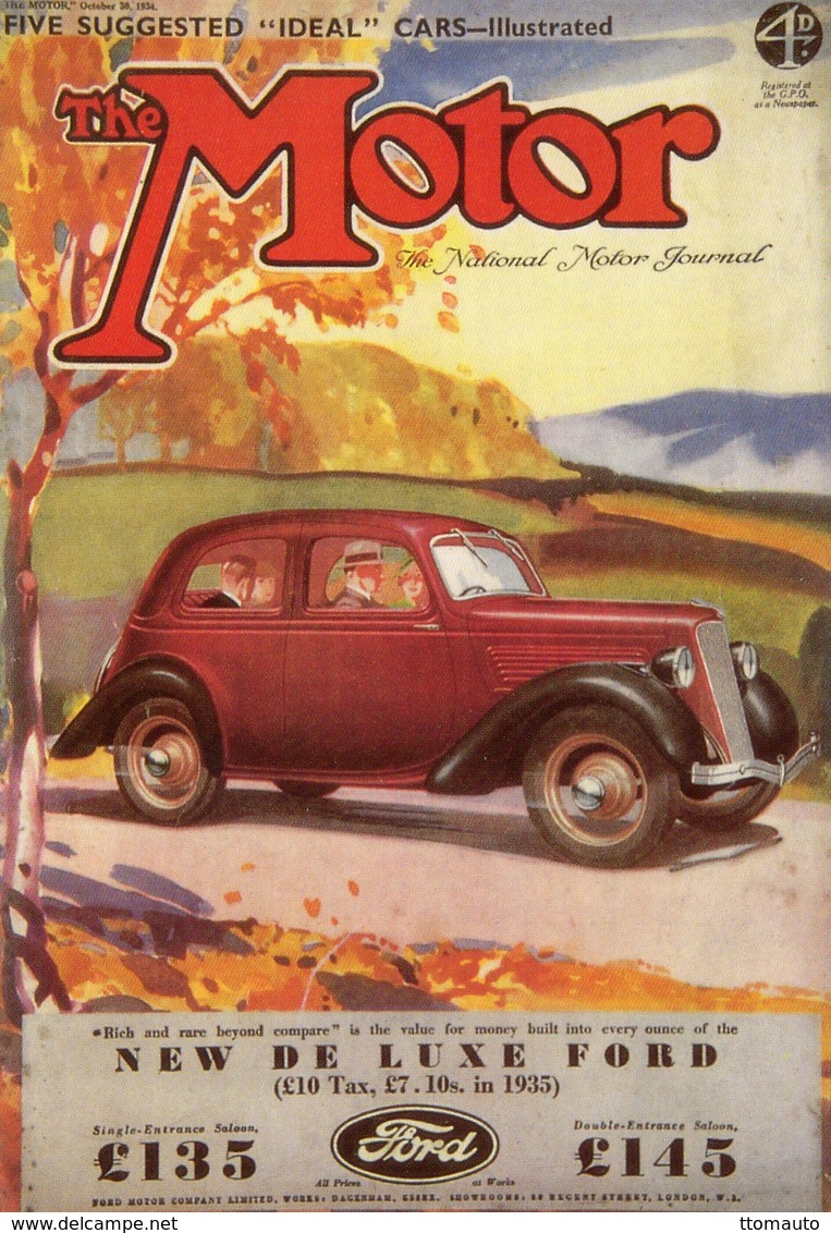 Ford 10 De Luxe  -  Magazine Cover Postcard  -  Carte Postale - Turismo