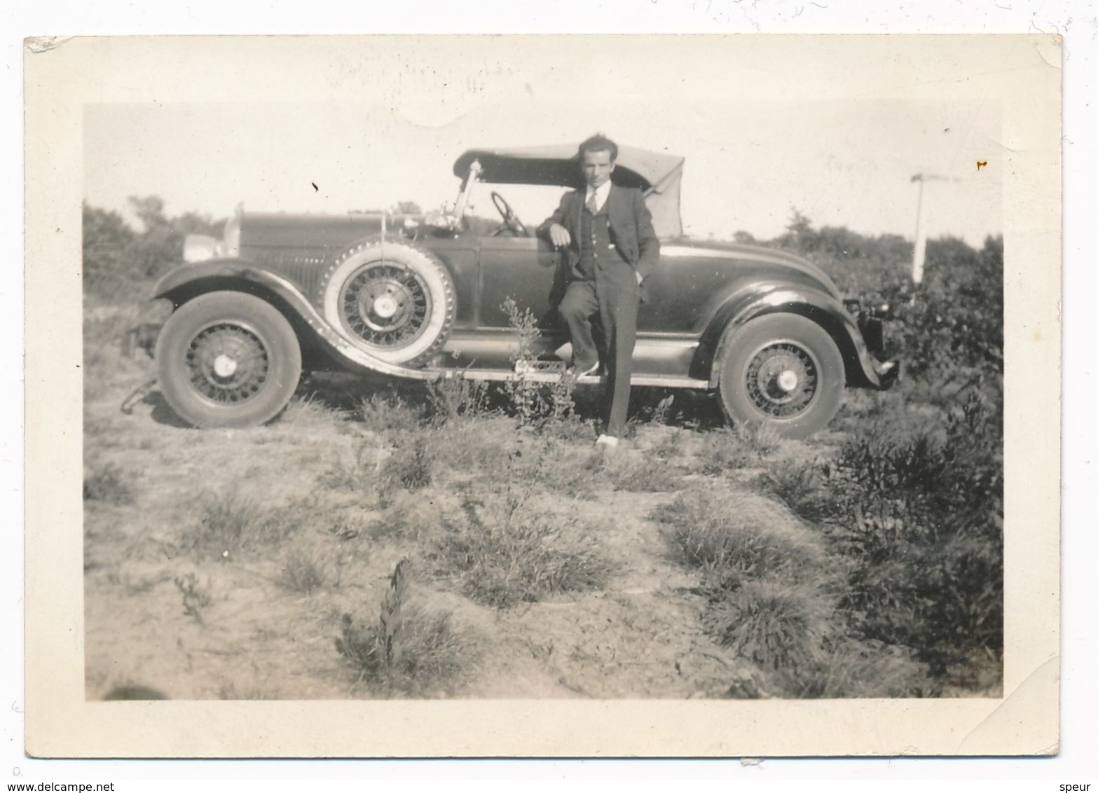 Man With Fancy Convertible, Probably Late 1920s - Automobiles