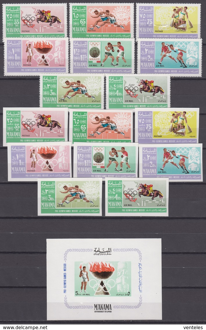 Manama 15.11.1967 Mi # 38-45AB Bl 2 Mexico City Summer Olympics (I) MNH OG - Verano 1968: México