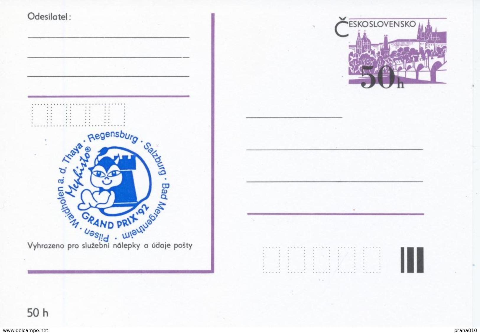 J0874 - 77 - Cecoslovacchia / Interi Postali (1992) Torneo Internazionale Di Scacchi Mephisto GRAND PRIX '92 (4 Pezzi) - Scacchi