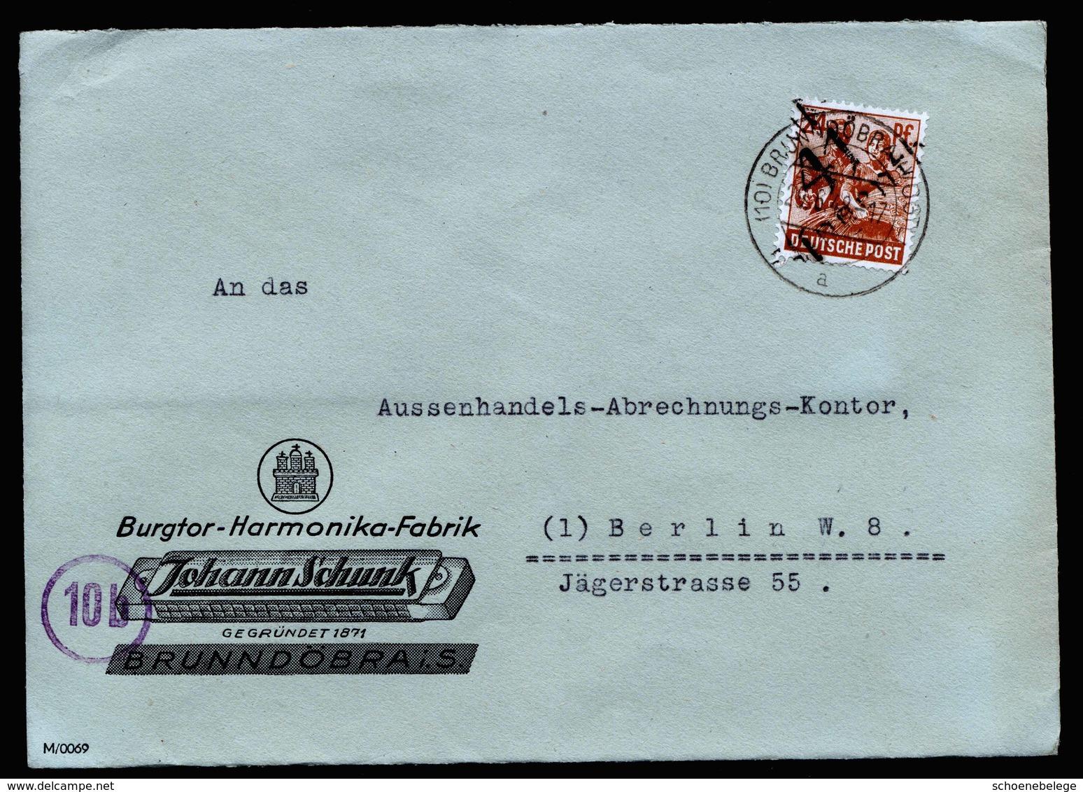 A5936) SBZ Brief Brunndöbra 29.06.48 Aufdruck Klingenthal Handstempel Mi.174X EF - Zone Soviétique