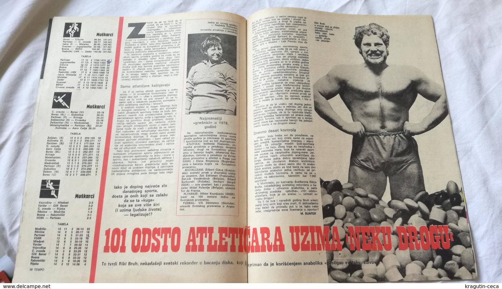 1979 TEMPO YUGOSLAVIA SERBIA SPORT FOOTBALL MAGAZINE NEWSPAPERS Pele Athletics HANDBALL UEFA LEAGUE - Deportes