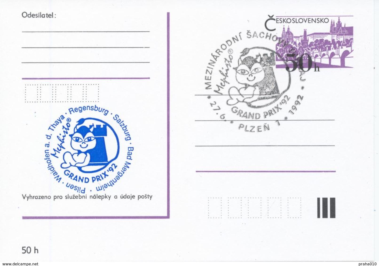 J0880 - Cecoslovacchia / Interi Postali (1992) Plzen 1: Torneo Internazionale Di Scacchi Mephisto GRAND PRIX '92 (blu) - Scacchi