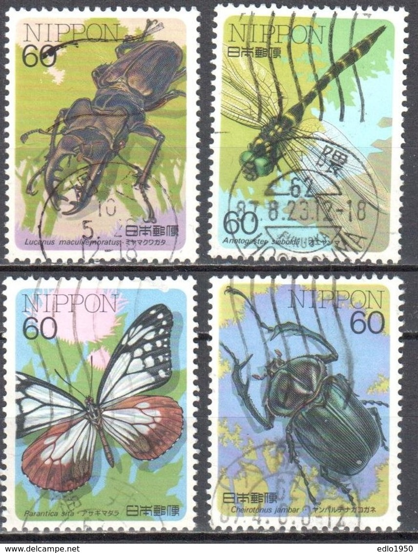 Japan 1987 - Insects - Butterflies - Mi.1712-15A - Used - Used Stamps