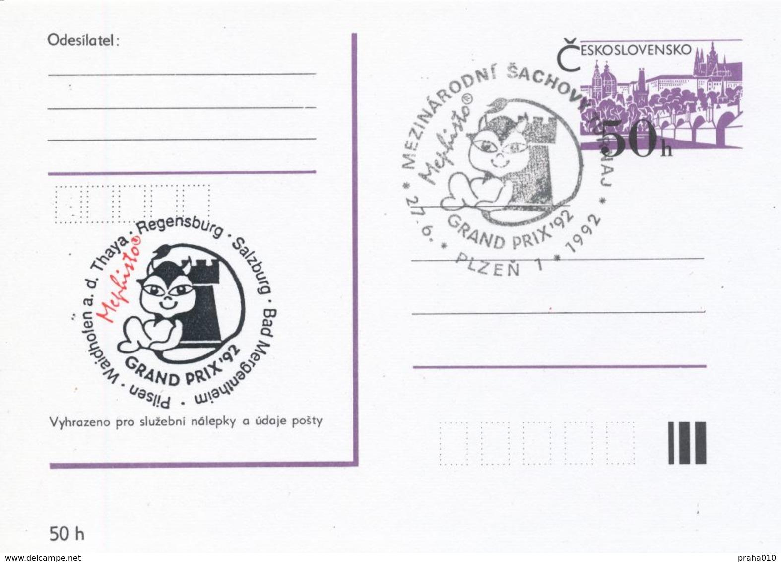 J0881 - Cecoslovacchia / Interi Postali (1992) Plzen 1: Torneo Internaz. Di Scacchi Mephisto GRAND PRIX '92 (nero/ Rosso - Scacchi