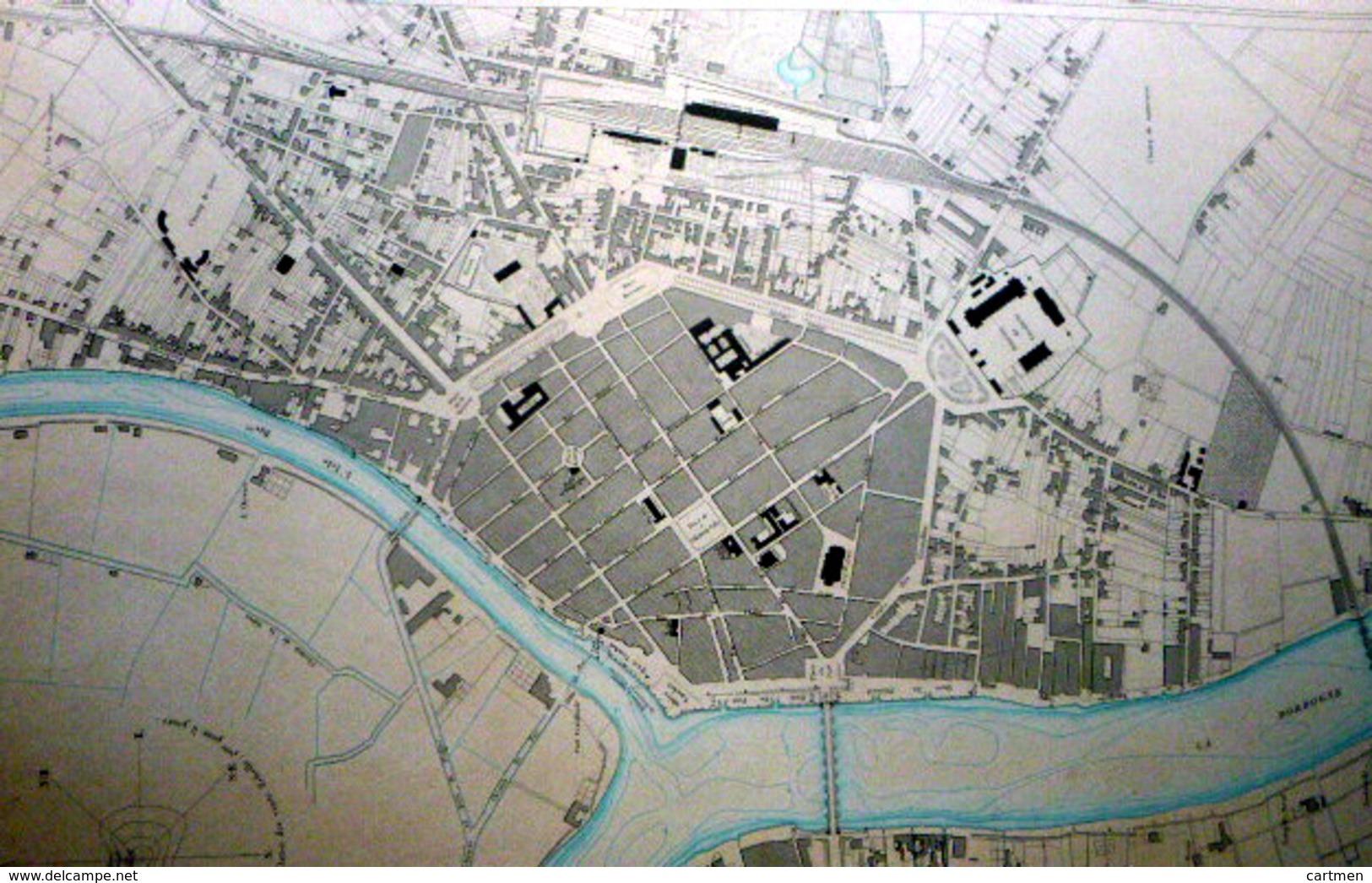 33 LIBOURNE  PLAN DU PORT ET DE LA VILLE  EN 1883 DE L'ATLAS DES PORTS DE FRANCE 49 X 66 Cm - Cartes Marines