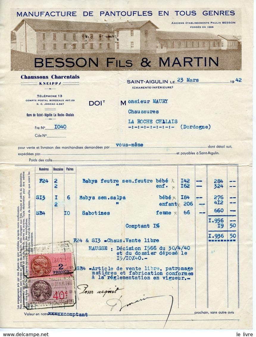 SAINT-AIGULIN 17 LOT DE 2 BELLES FACTURES 1942 BESSON FILS ET MARTIN. PANTOUFLES EN TOUS GENRES CHAUSSONS - France
