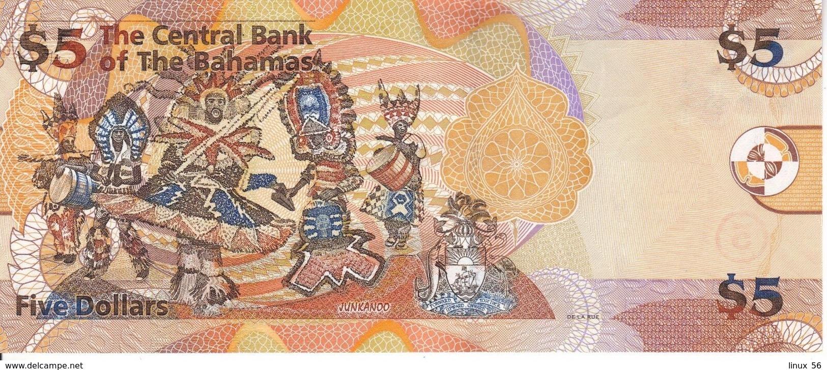 BAHAMAS - 5 Dollars 2013 UNC UNC P.72 A - Bahamas
