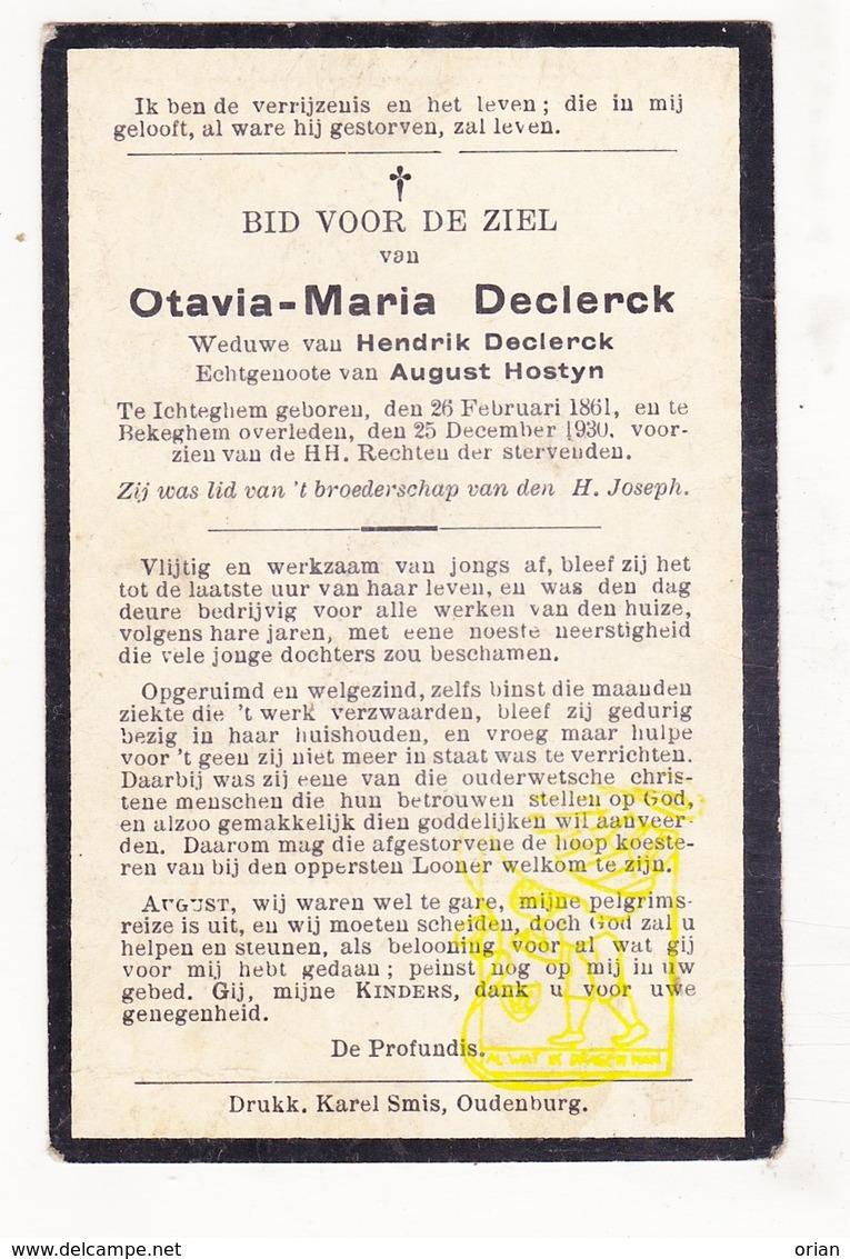 DP Otavia M. Declerck ° Ichtegem 1861 † Bekegem 1930 X H. Declerck Xx A. Hostyn - Devotion Images