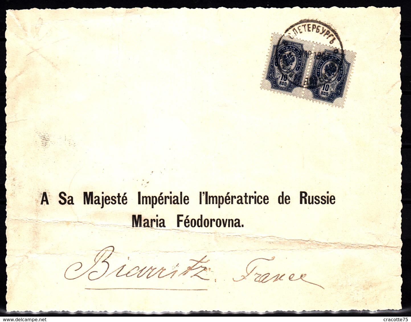 RUSSIE - N°  44 En Paire Sur Courrier Adressé à Sa Majesté Impériale, L'Impératrice De Russie Maria Féodorovna. - Briefe U. Dokumente