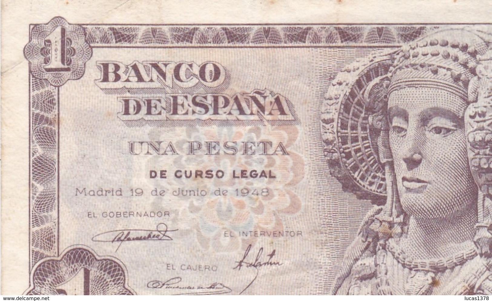 ESPAÑA BILLETE DE 1 PESETA 19 DE JUNIO DE 1948/ TTBE - 1-2 Pesetas
