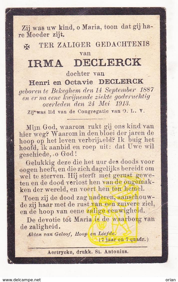 DP Irma Declerck / Declerck 25j. ° Bekegem Ichtegem 1887 † 1913 - Images Religieuses