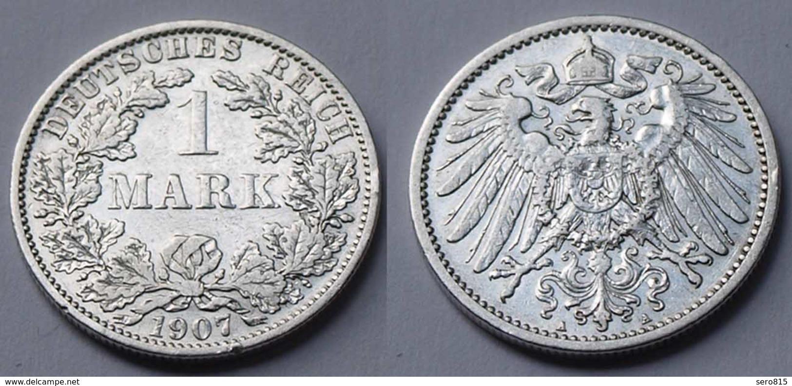 1 Mark Jäger 17 Silber Münze Großer Adler 1907 A Kaiserreich  (22020 - [ 2] 1871-1918: Deutsches Kaiserreich