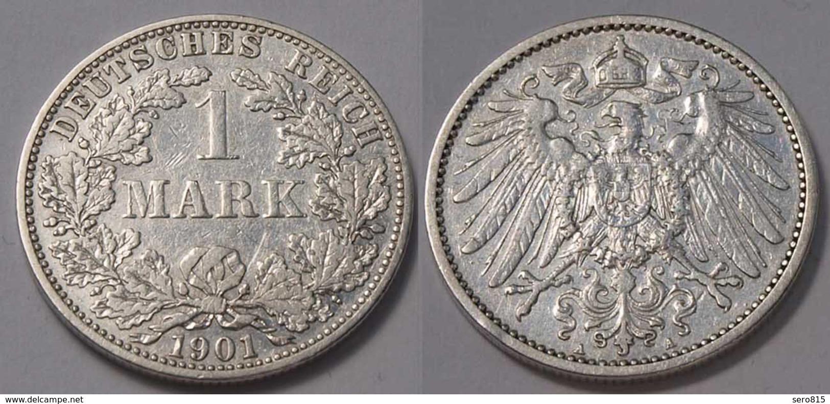 1 Mark Jäger 17 Silber Münze Großer Adler 1901 A Kaiserreich  (22034 - [ 2] 1871-1918: Deutsches Kaiserreich