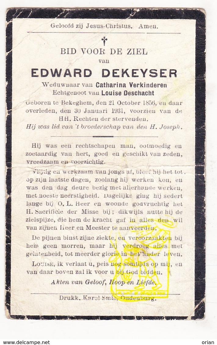 DP Edward Dekeyser ° Bekegem Ichtegem 1856 † 1931 X Cath. Verkinderen Xx L. Deschacht - Images Religieuses