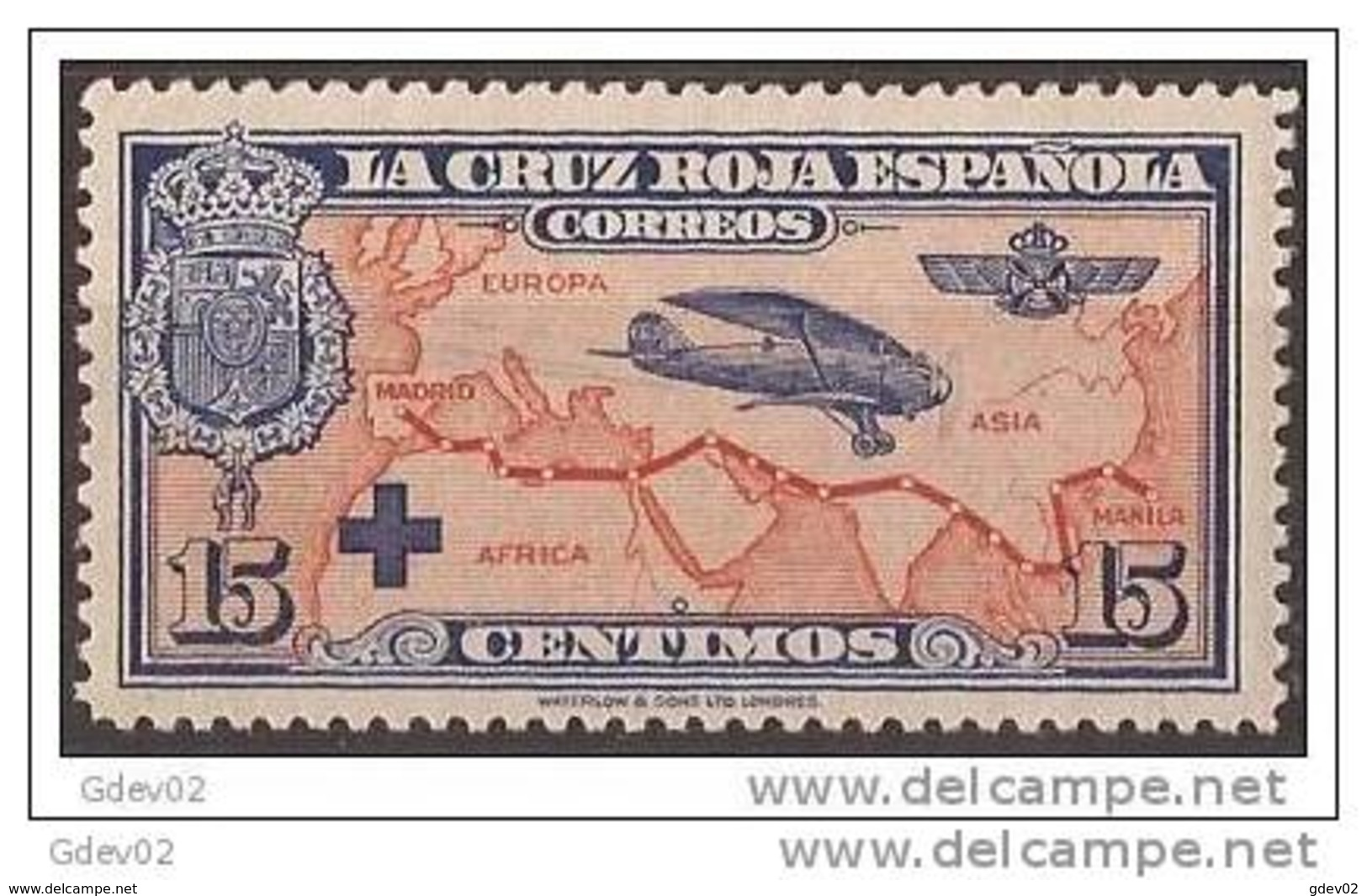 ES341-LA245TESSC.España, Spain,  Espagne. Cruz Roja.AEREA1926 (Ed 341**) Sin Charnela.EXCELENTE - Escudos De Armas