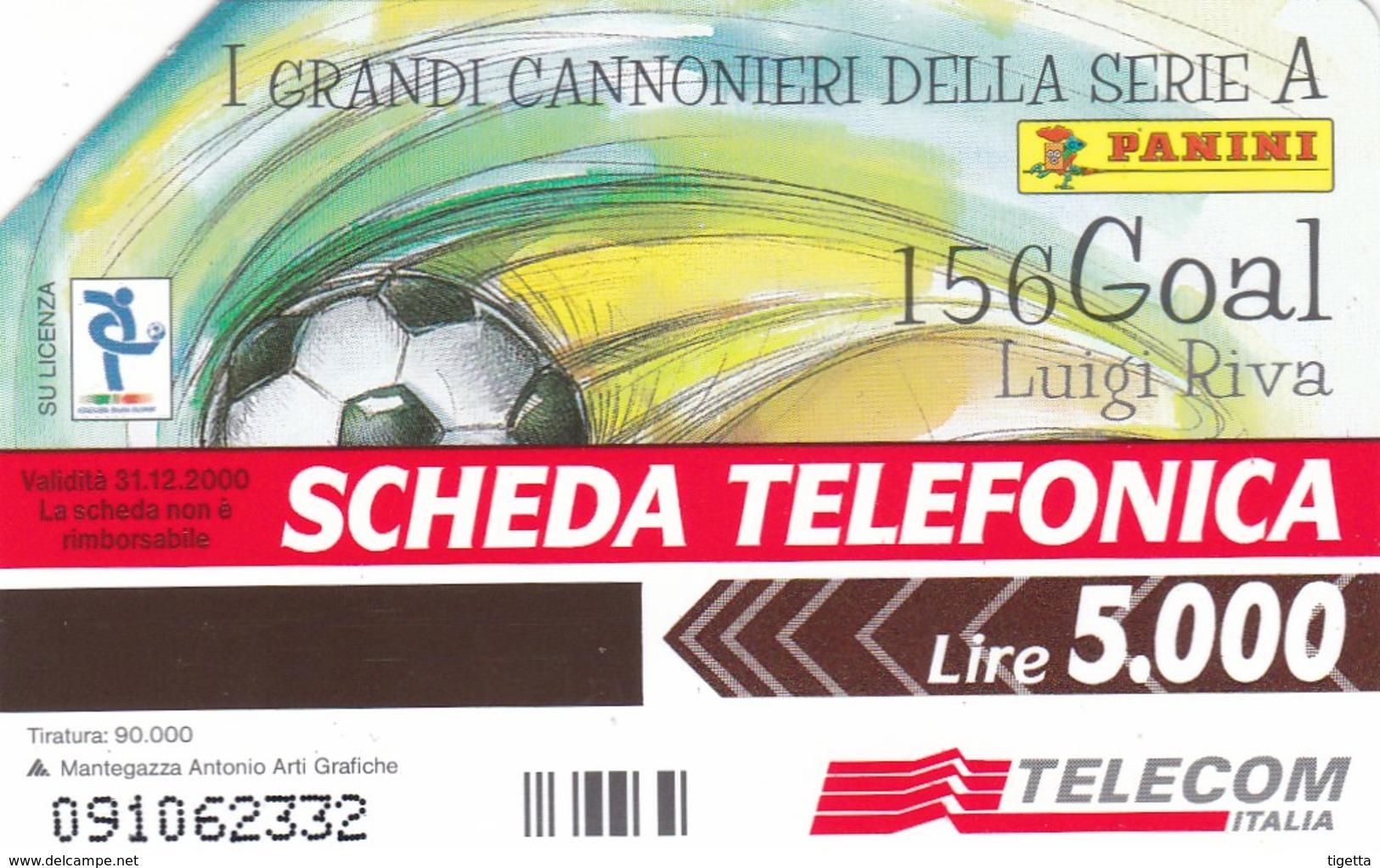 SCHEDA TELEFONICA  I GRANDI CANNONIERI DELLA SERIE A LUIGI RIVA  SCADENZA 31/12/2000 USATA - Italia