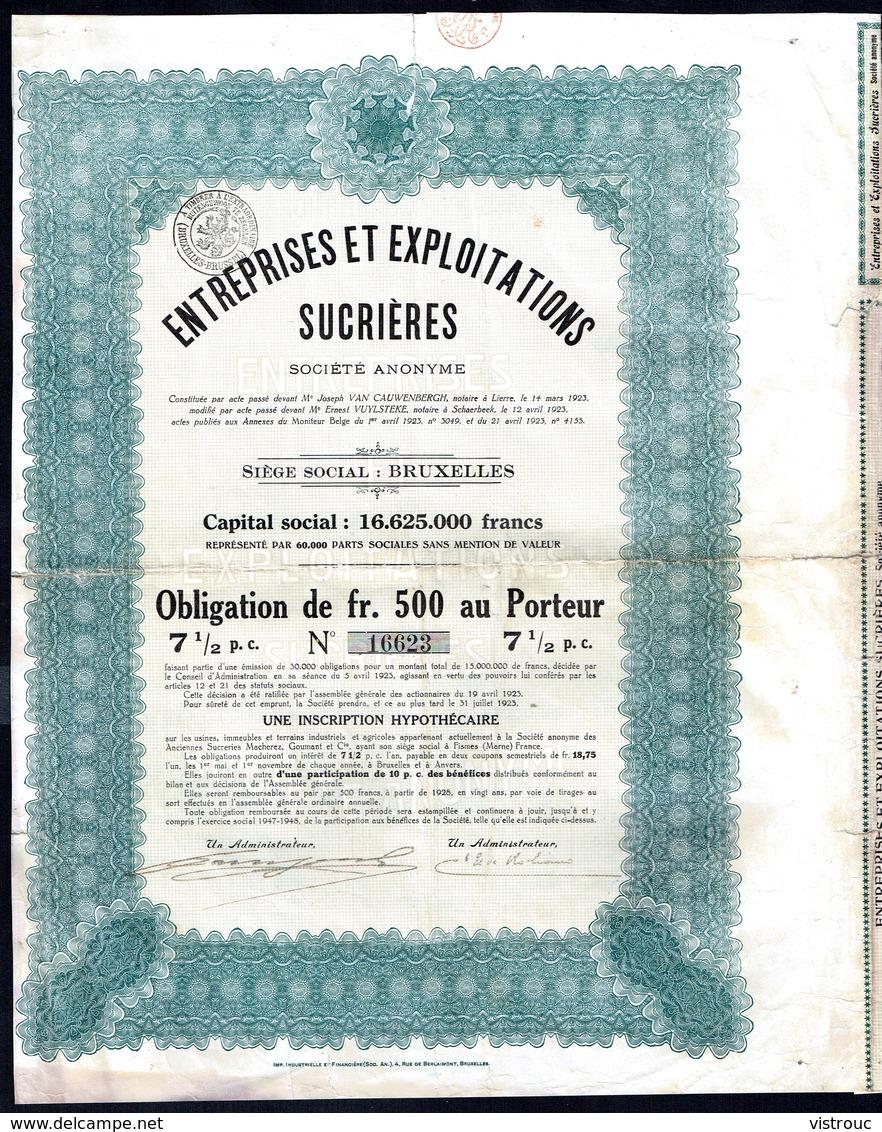 BE - Entreprises Et Exploitations Sucrières - - Obligation  De 500,- Fr Au Porteur - 30.000 EA - 1923. - Agriculture
