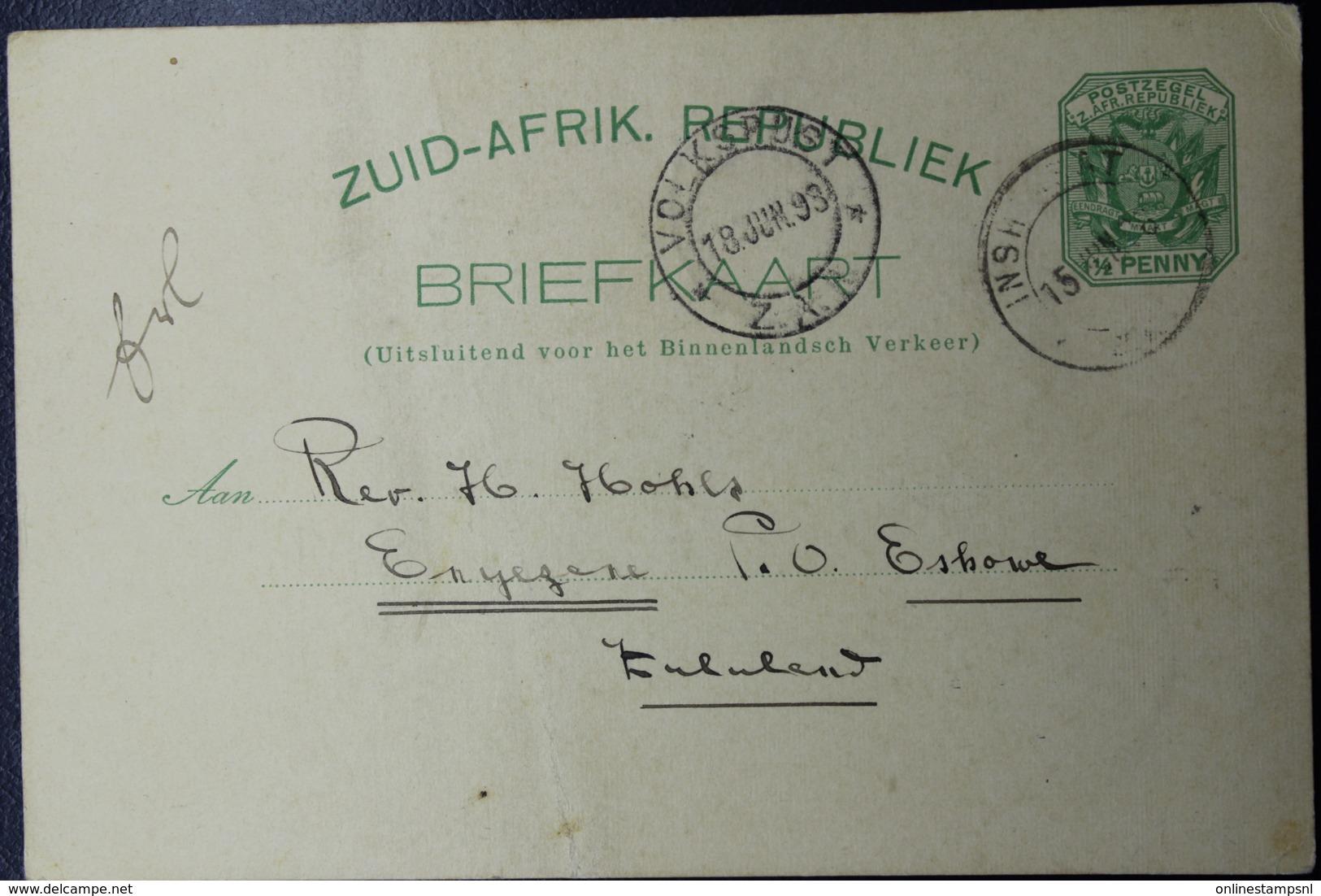 Transvaal Postcard P5  INSHLASJOTJE -> ENYZEZENE  Putzel RRR - Transvaal (1870-1909)