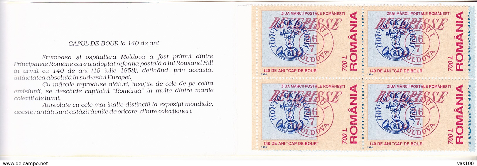 THE BULL - HEAD 140 YEARS,BOOKLETS 1998,ROMANIA. - Carnets