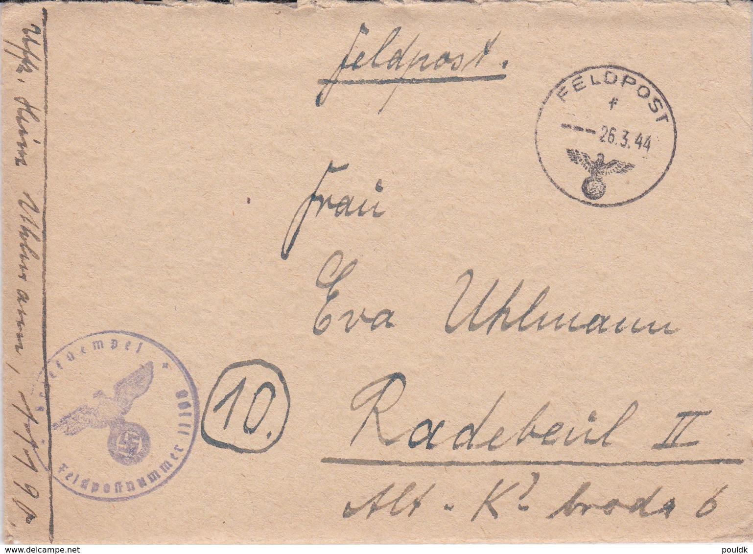 German Feldpost WW2: From Romania - 3. Schwadron Panzer-Aufklarungs-Abteilung Gross-Deutschland FP 11190 - Militaria
