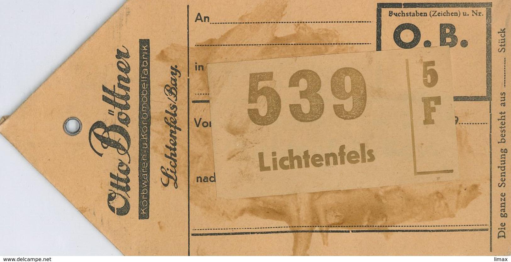 Otto Böttner Lichtenfels Korbwaren Rattan Korbmöbelfabrik Paketanhänger Kofferanhänger O.b. - Briefe U. Dokumente