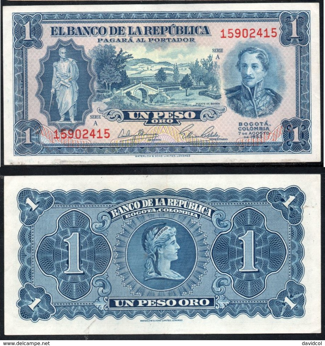 COLOMBIA - 1953- UN PESO  ( $ 1 ) - UNCIRCULATED. CONDITION 9/10 - Colombie