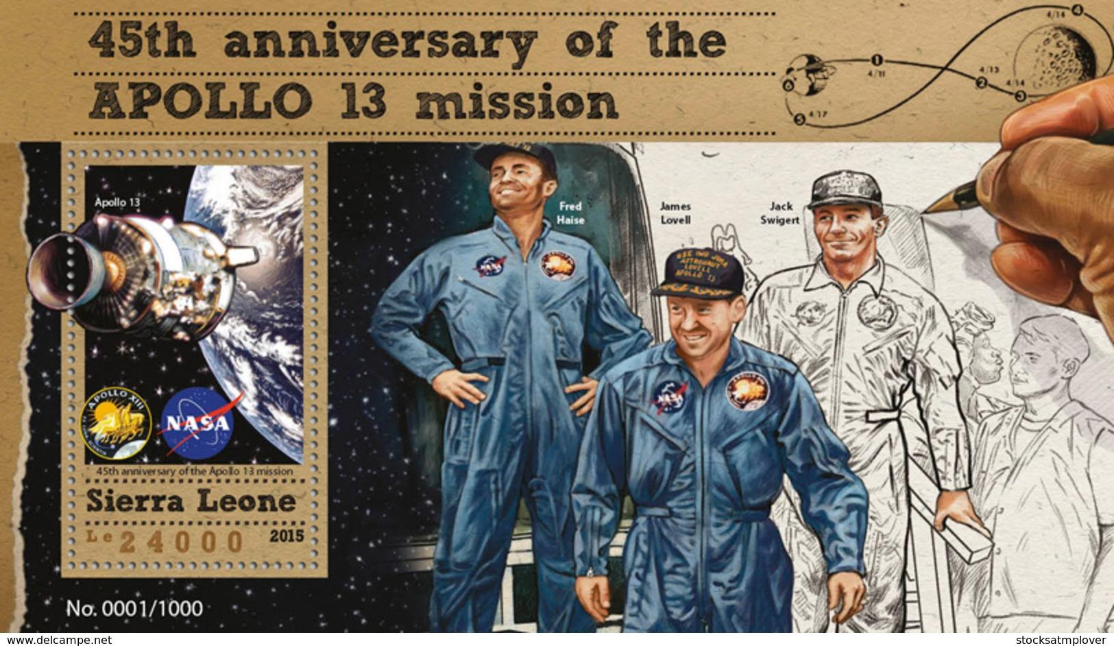 Sierra Leone 2015  Apollo 13 Mission , Space - Sierra Leone (1961-...)