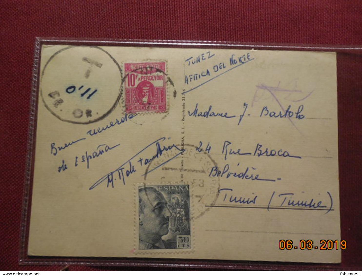 Carte De 1953 A Destination De Tunis Avec Taxe Percue A L Arrivée - 1931-Oggi: 2. Rep. - ... Juan Carlos I