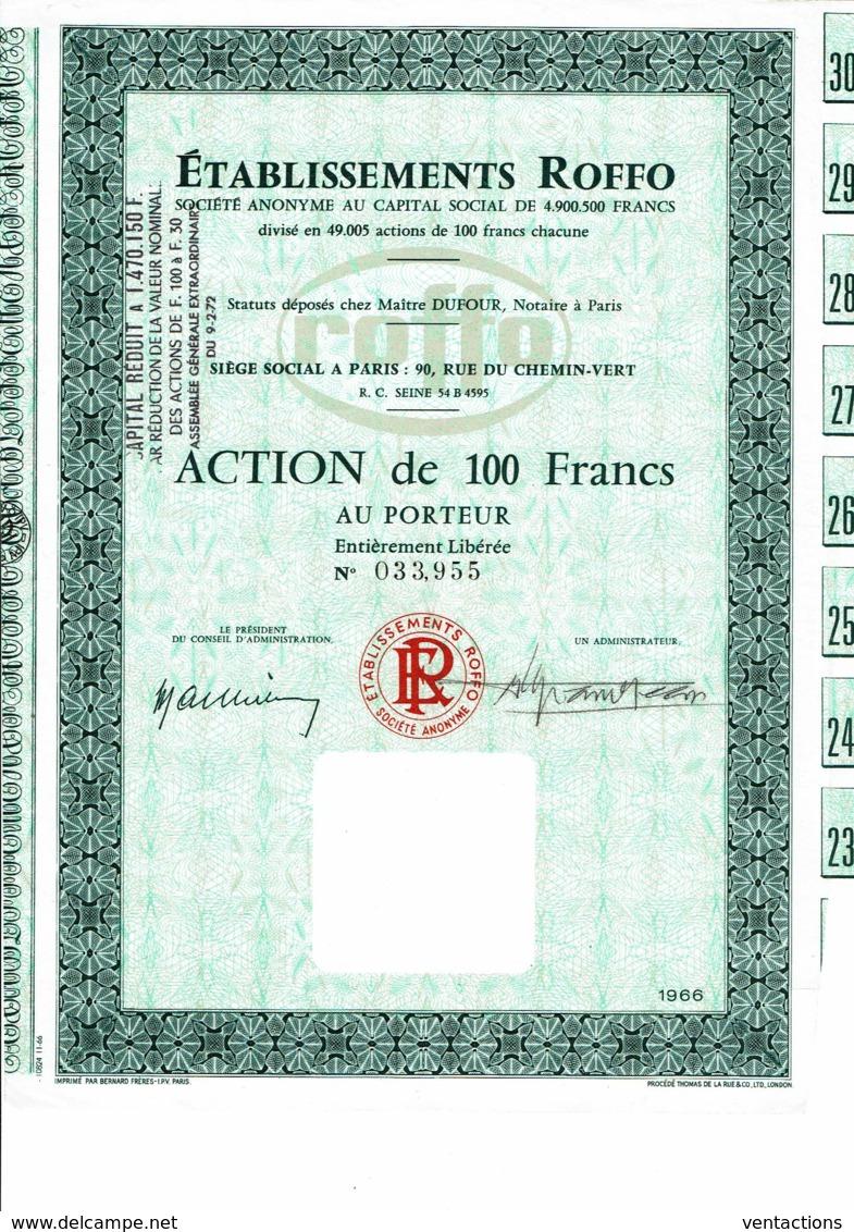 75-ROFFO. Action De 100 F. 1966. Paris Rue Du Chemin Vert. - Shareholdings