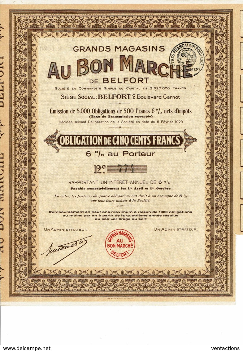 90-GRANDS MAGASINS AU BON MARCHE DE BELFORT. Obligation 1929 - Other