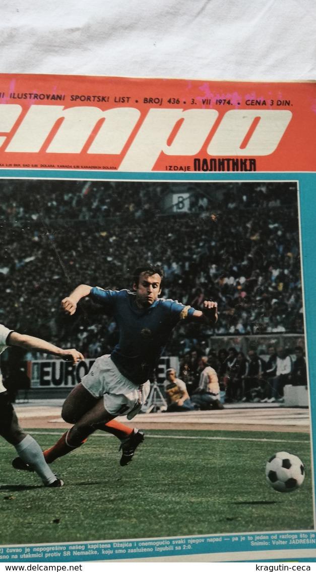 1974 TEMPO YUGOSLAVIA SERBIA SPORT FOOTBALL MAGAZINE NEWSPAPER WM74 CHAMPIONSHIP DJAJIC FOGST MUNDIAL RIJEKA Johan Johan - Deportes
