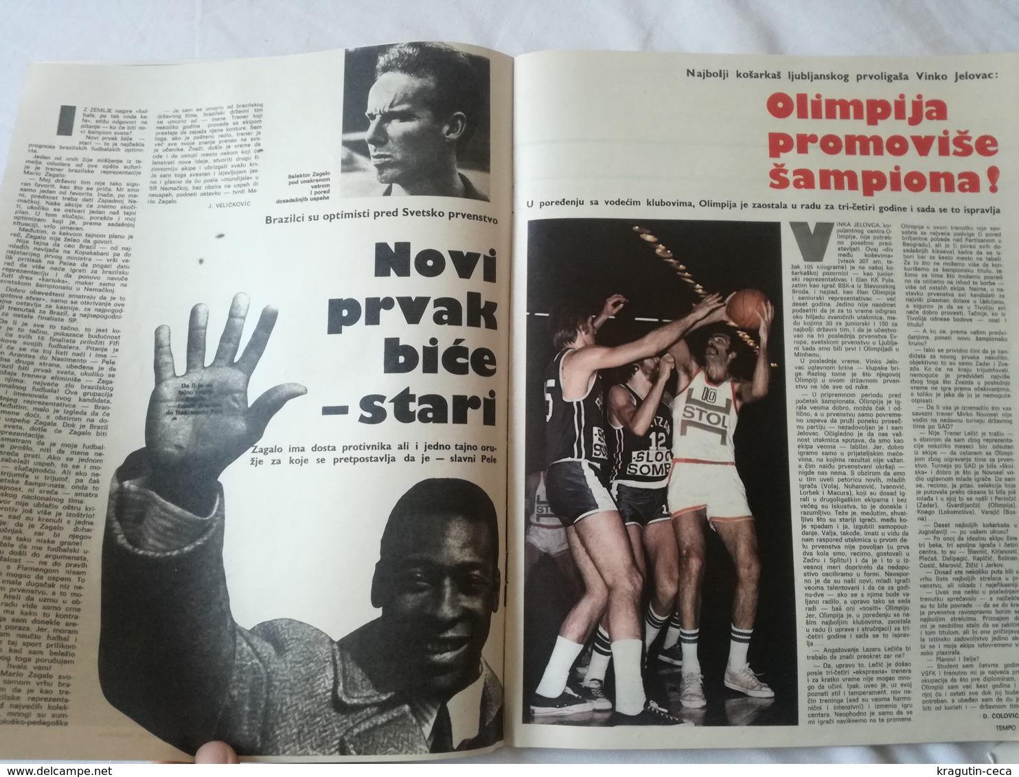 1974 TEMPO YUGOSLAVIA SERBIA SPORT FOOTBALL MAGAZINE NEWSPAPERS WM74 CHAMPIONSHIPS WOMAN HANDBALL PELE HAJDUK BASKETBALL - Deportes