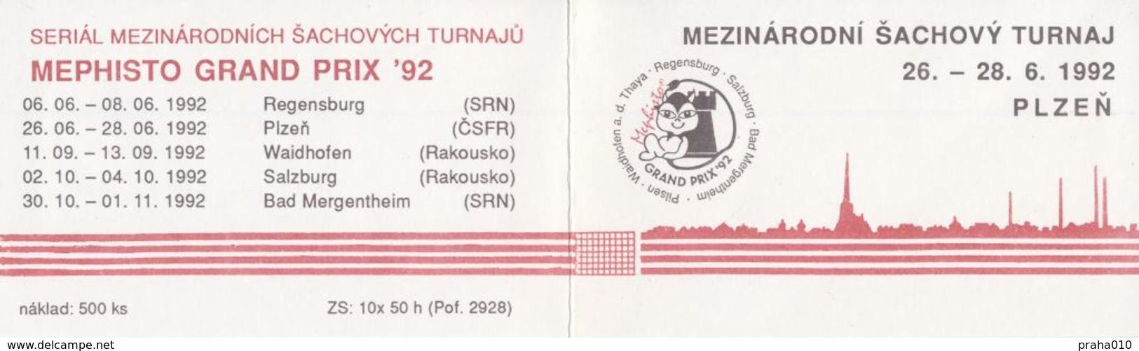 J0888 - Cecoslovacchia (1992) Markenheftchen: Libretto Di Francobolli: Torneo Intern. Di Scacchi Mephisto GRAND PRIX 92 - Scacchi