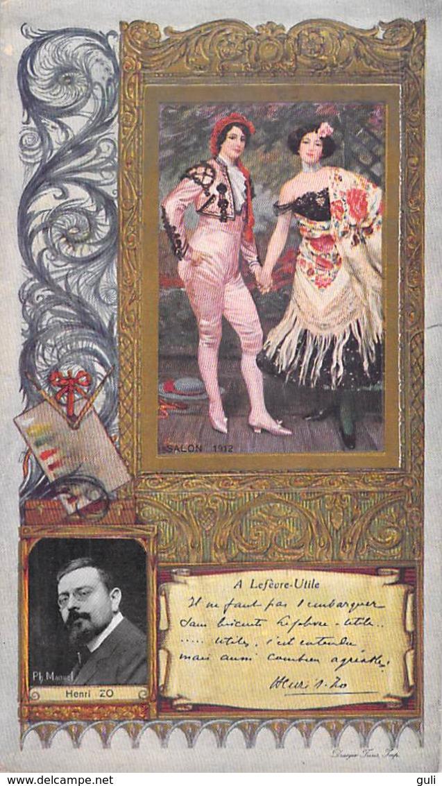 LU LEFEVRE UTILE Chromo Gauffré Dorure HENRI ZO  Par Ph Manuel  Photo Salon 1912 (Imprimerie DRAEGER Frères)*PRIX FIXE - Lu