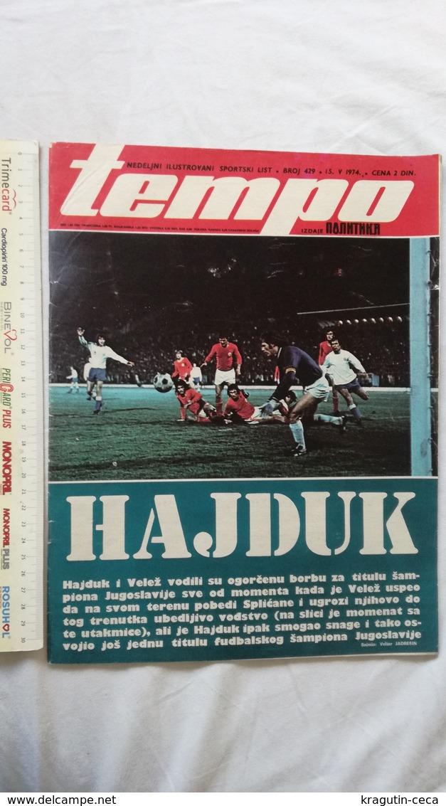 1974 TEMPO YUGOSLAVIA SERBIA SPORT FOOTBALL MAGAZINE NEWSPAPERS HAJDUK MATO GAVRAN CELIK BASKETBALL GYMNASTICS RIJEKA FC - Otros